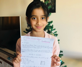 Anaisha with her letter